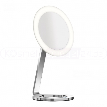 "Aliseo 020759 - Stand LED Kosmetikspiegel ""MOON DANCE"", Ø 24cm, touch control, T3 technology - 2 Lichtfarben einstellbar, sieger design, 3-Fach Vergrößerung, aus verchromten Messing, 230V"
